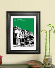 San Francisco City Skyline - Cable Car 2 Poster - San Francisco Art Print , 8x10 - Choose your color. $20.00, via Etsy.