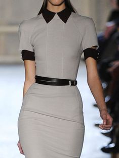 Business Chic Grey Black Collar Cuffs Pencil Dress