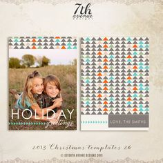 INSTANT DOWNLOAD - 2013 Christmas Card Templates vol.26 5x7 inch card template