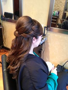 Half up hair 1/2 updo bridal or prom hair thick hair style