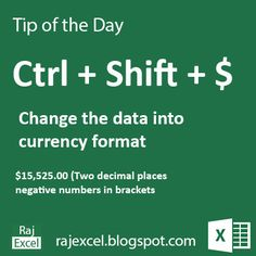 Learn Microsoft Excel: Tips of the Day Ctrl + Shift +$