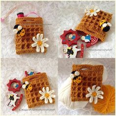 Name: 'Crocheting : Honey Waffle Gift Bag Crochet Pokemon, Crochet Pouch, Crochet Ornaments, Crochet Handbags, Crochet For Kids, Ribbon Bows, Purses And Bags, Crochet Patterns, Gift Wrapping