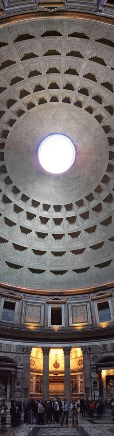 Great view of the coffered ceiling and the oculus at the Pantheon, Rome. 118-125 CE. #GISSLER #interiordesign