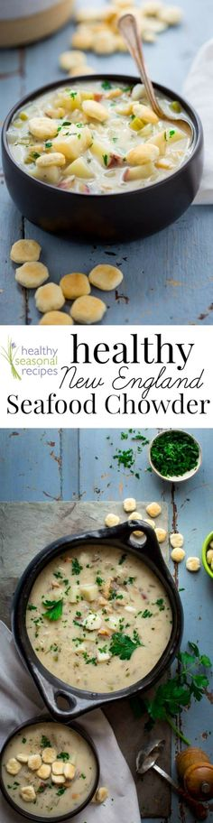 Healthy New England Seafood Chowder, only 350 calories per 2 cup serving. It is full of clams, fish, tender potatoes, vegetables and herbs and has a light cream sauce. Gluten-free option.