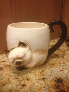 Vtg 3D Norcrest Sculpted Siamese Cat Kitty Coffee Mug Cup