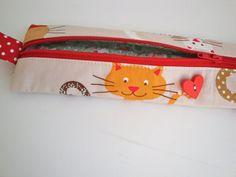 Cotton small zipper -pencil case - pencil  holder - teen girls -  crochet hook  case - make up bag - handmade -  gift - cats  - women