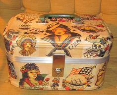 Sailor Jerry tattoo themed upcycled vintage train case makeup bag suitcase travel via Etsy