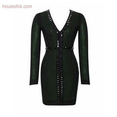 >> Click to Buy << 2017 spring long sleeve women short dress green v neck beading bodycon dress luxcury cocktail party dresses vestidos elegant #Affiliate