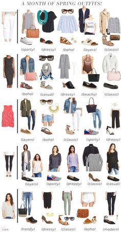 "Today I am closing up the recent ways to wear."" series with a compilation of the entire series into one super smart and handy post. If you take 5 awesome wardrobe staples and make 5 outfits out o Capsule Wardrobe Mom, Capsule Outfits, Fashion Capsule, Komplette Outfits, Spring Outfits, Spring Summer Fashion, Fashion Outfits, Womens Fashion, Mom Wardrobe"