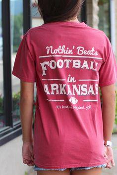 LivyLu: Football in Arkansas Tee {Cardinal} - The Fair Lady Boutique - 1