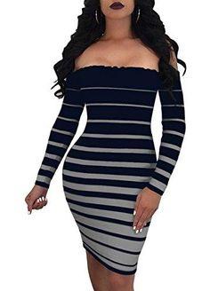 8f19c5459b Off Shoulder Striped Bodycon Mini Dress-Blue Grey