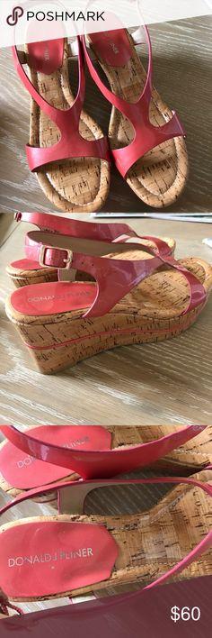 Donald J Pliner Cork wedges Donald J Pliner Cork wedges.  Dark coral patent leather. EUC Donald J. Pliner Shoes Wedges