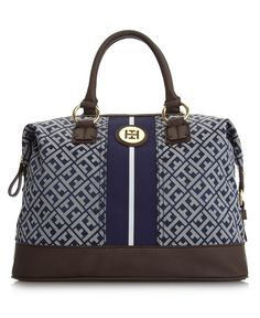 Tommy Hilfiger Handbag, Signature Jacquard Logo Bowler - Tote Bags - Handbags & Accessories - Macy's $118.00