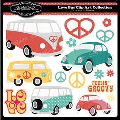 Love Bus Digital Clip Art Set for party themes, invitations, stationary and more Totally cool. Combi Hippie, Combi Ww, Carros Vintage, Feelin Groovy, Hippie Party, Doodles, Volkswagen Bus, Volkswagen Transporter, Business Card Logo