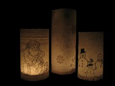 Pottery Barn Inspired Christmas Luminaries-find/make some clip art, print out my images, cut them to size and tape them onto some old jars I saved (from canning, peanuts, jelly etc...) Then put in tiny tea candles (or your could even use those little battery operated luminaries that are like 2 or 3 for a dollar at $ Tree).