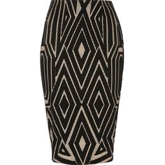 River Island Black jacquard print pencil skirt ($37) ❤ liked on Polyvore featuring skirts, patterned skirts, midi pencil skirt, mid calf skirts, calf length skirts and mid calf pencil skirt