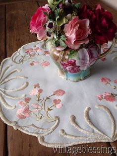 "Antique Victorian Society Silk Sweetpeas Embroidery Center Piece 21"" x 21"" www.Vintageblessings.com"