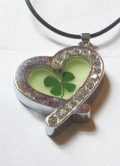 Necklace Shamrock Heart Four Leaf Clover Lg Pendant Charm Crystal Lucky irish #Unbranded #Pendant