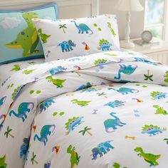 Dinosaur Land Duvet Cover/white kids duvet cover with blue and green dinosaurs