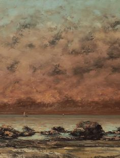 Fishing Boats on the Beach from Deauville Courbet Vintage Lithograph Art Print