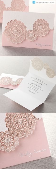 Tri-Fold Laser Cut Pink by B Wedding Invitations #weddinginvitations #invitations #wedding #pinkwedding #lasercut #bweddinginvitations