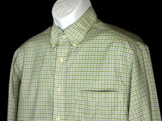 Jos A Bank Executive Men's Yellow Blue Black Checked Cotton Button Shirt Sz M  #JosABank #ButtonFront