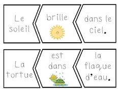 Primary French Immersion Resources: Freebie - French and English spring sentence puzzle cards French Flashcards, French Worksheets, Spanish Teaching Resources, French Resources, Spanish Activities, Work Activities, Language Activities, French Teacher, Teaching French