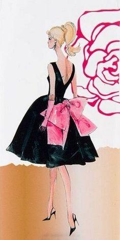 Cocktail Dress Barbie - by Robert Best Barbie Fashion Sketches, Fashion Design Sketches, Fashion Dolls, Fashion Moda, Fashion Art, Vintage Fashion, Illustration Mode, Fashion Illustration Sketches, Barbie Images