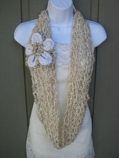 Crochet cream cowl with a white flower by StarlingNightCrochet, $27.50