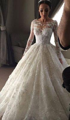 Romantic wedding dress,Appliques Wedding Dress,Long-Sleeves wedding dress,Lace Wedding dress W19