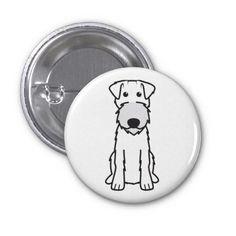 Irish Terrier Dog Cartoon Pinback Buttons