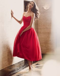 ML Monique Lhuillier Strapless Draped-Bodice Tulle Cocktail Dress - Neiman Marcus - I'd look mighty fine!