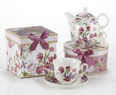 Beautiful Gift Boxed Porcelain 8oz Teacup and Saucer has matching box adorned with a lovely satin ribbon. Perfect for gifting...