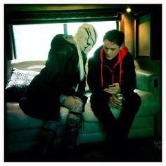 Anton Yelchin and Sofia Boutella on the set of Star Trek Beyond