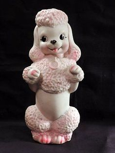 Vintage-Sun-Rubber-Poodle-Squeaky-Children-Child-Toy-Light-Pink-Squeaks-1960s