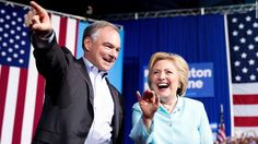 Tim Kaine took the stage alongside Hillary Clinton in Miami Saturday and offered his first greeting to voters as a vice presidential nominee -- in Spanish.
