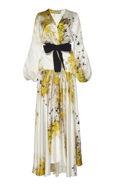 Felicity Tie-Detailed Printed Silk-Satin Maxi Dress by Silvia Tcherassi Dress Outfits, Fashion Dresses, Women's Dresses, Frack, Dresses To Wear To A Wedding, Dress Wedding, Prom Dress, Couture, Classy Outfits