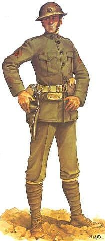World War I American uniform: The uniform had a camouflage colored hat, wool made coat, and pants with boots.