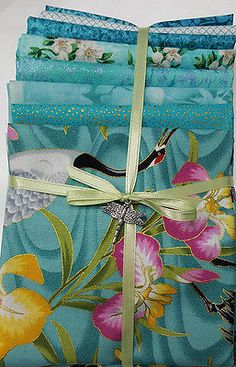 Japanese Asian Quilting Fabric - 8 Fat Quarter Color Pack - Cranes & Iris - Aqua
