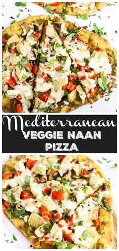 Pizza Vegetariana, Naan Pizza, Pizza Hut, Naan Flatbread, Lunch Recipes, Easy Dinner Recipes, Healthy Recipes, Pizza Recipes, Drink Recipes