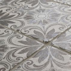 Somertile 7 75x7 75 Inch Gavras Cendra Décor Dahlia Ceramic Floor And Wall Tile