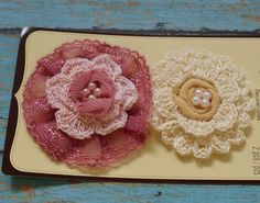 Annette Flowers Iced White Lotus- 2 Vintage Look Fabric Flowers with Pearls - Artificial Flowers. $4.99, via Etsy.
