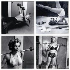 Marilyn Monroe Workout At Home Gym Rare Pumping Iron Fitness Inspiration