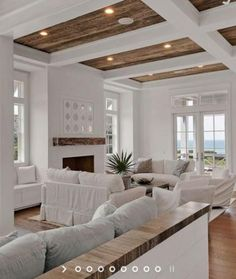 87 opposite home decor living room wall 2019 tiny house desi Coastal Living Rooms, Home Living Room, Living Room Designs, Living Room Decor, Cozy Living, Dining Room, High Ceiling Living Room, White Beams, White Walls