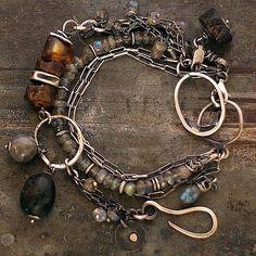 handmade bracelets, sterling silver, patina, Baltic amber, labradorite. Signed.        D I M E N S I O N S :  total length - 19 cm / 7.6  ( can be