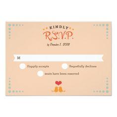 "Modern Retro Vinyl Record Orange Sky Blue RSVP 3.5"" X 5"" Invitation Card"
