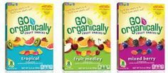 Go Organically® Fruit Snacks are USDA-certified organic, made with real fruit purées and real fruit juices. These tasty smart and delicious treats include 100% of the daily recommended value of Vitamin C and are an excellent source of Vitamins A and E. Go
