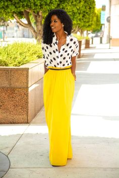 Polka Dot Shirt + Paper Bag Waist Maxi