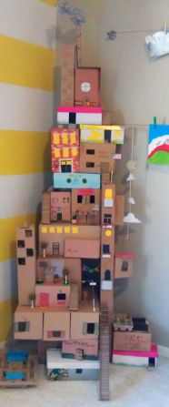 Building is fantastic for fine motor, hand-eye coordination, imagination, creativity and so many other wonderful skills. You can build using many different sized and shaped boxes, cardboard pieces and rolls for your creation. Then children can spend time decorating with pencils, crayons, fancy paper, paints and whatever items you have at home. And after that they can play with whatever they have built. Hours of enjoyment to be had!