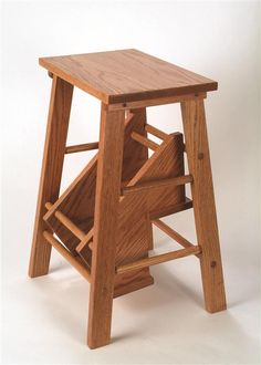 oak step stool for the library